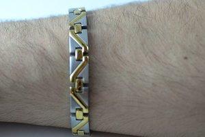 Magnetarmband + IR i borstat, rostfritt stål - Herr